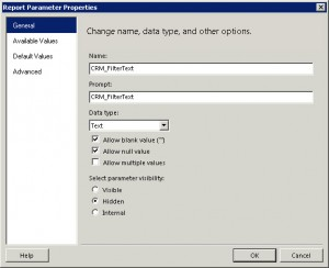 Create the CRM Filter Text Parameter