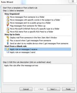 Create an Outlook Inbox Rule