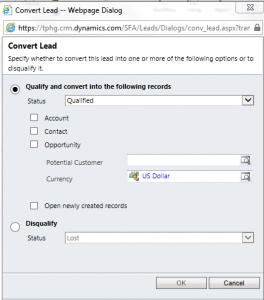 CRM 2011 Lead Qualification Dialog no longer there