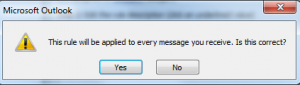 Inbox Rule will be applied to every message
