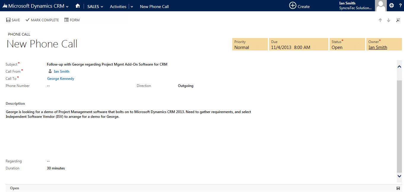 scheduling phone calls in crm 2013 syncratec crm 2013 adding a follow up phone call