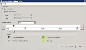 Timeline Selection for SQL Server 2012 Database Restore