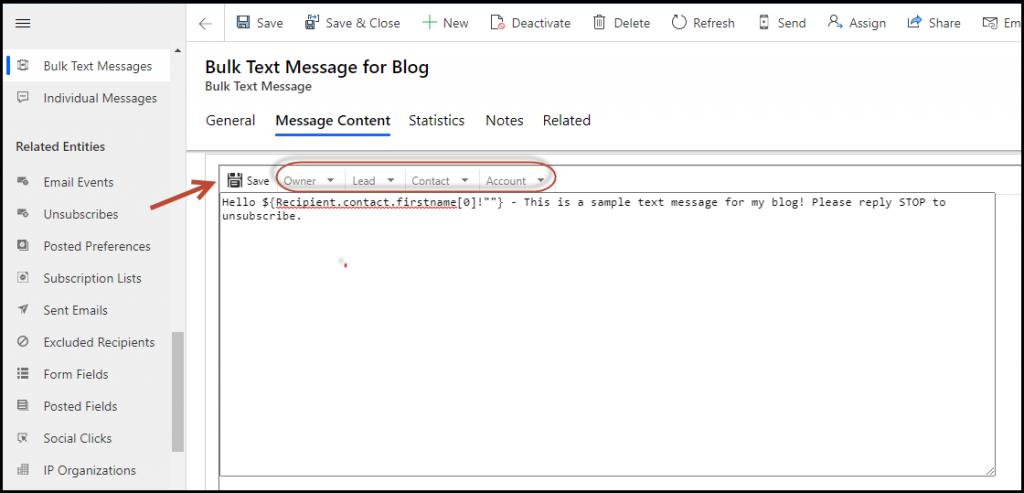 Bulk Text Message tab