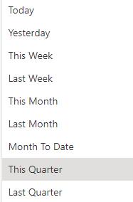 Default Time Frame Options