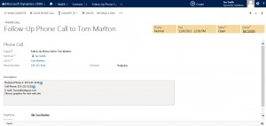 View the CRM 2013 Phone Call Activity Record