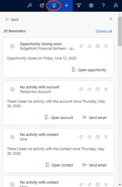 Dynamics 365 Sales Insights Assistant Action Cards-Light Bulb