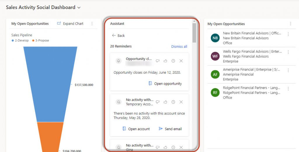 Dynamics 365 Sales Insights Assistant Action Cards-Dashboards