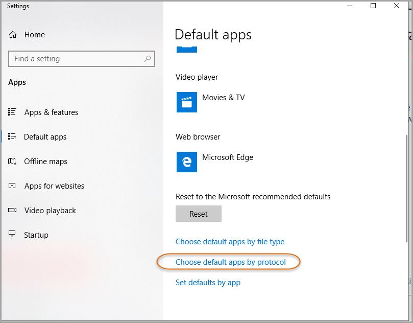 Default App by Protocol