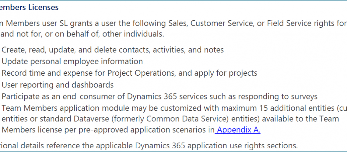 Dynamics 365 Team Members Use Rights