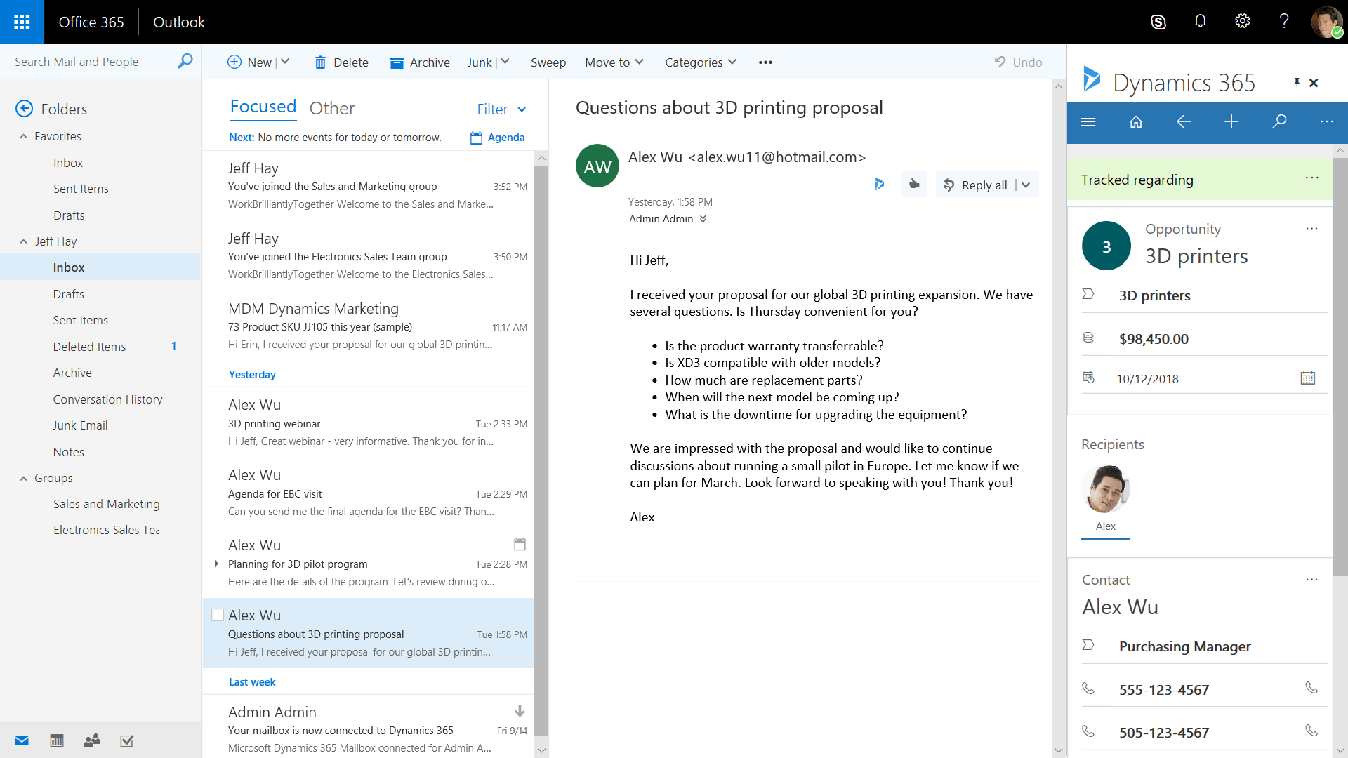 Dynamics 365 for Sales Professional - Outlook Web App