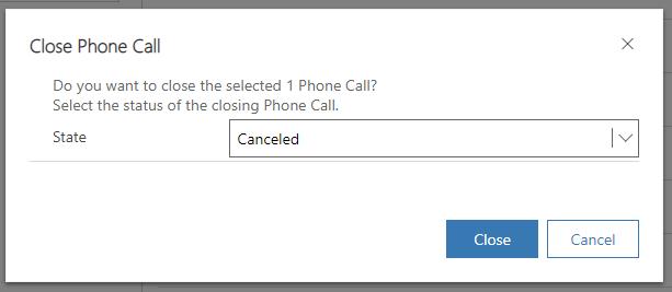 Phone Call Close as Canceled