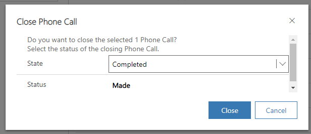 Phone Call Close as Completed