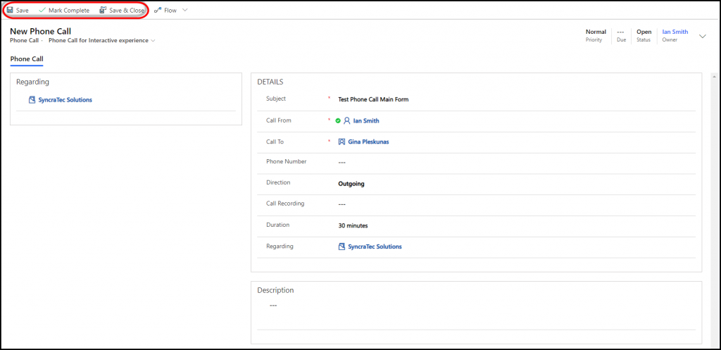 Manage Phone Calls in the Unified Interface Main Form
