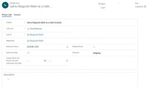 create follow-up phone call in Dynamics 365
