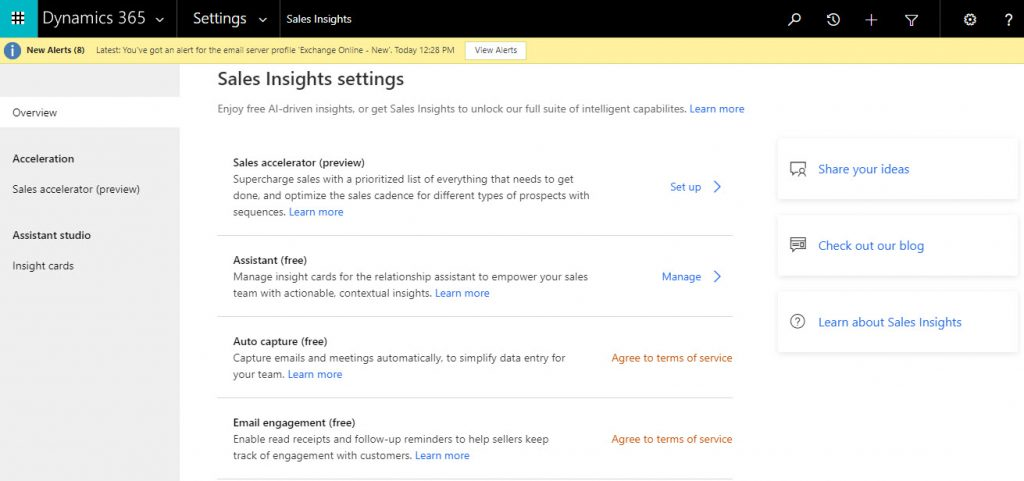 Sales Insights Configuration